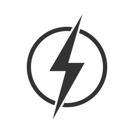 Lightning bolt in the circle graphic icon. Energy sign isolated on white background. Electric power symbol. Vector illustration Banque d'images - 136070855