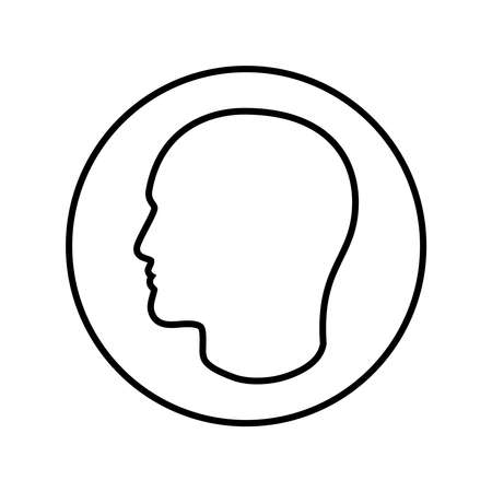 Contour male head graphic icon. Head person linear sign in the circle isolated on white background. Outline profile symbol. Vector illustration Banque d'images - 136070856