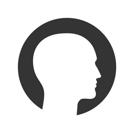 Silhouette male head graphic icon. Head  man in the circle sign isolated on white background. Man profile symbol. Vector illustration Banque d'images - 135221294