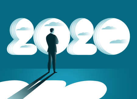 Man standing in front of the beginning in 2020 and looks to the future. Businessman thinks near the window 2020. Business concept. Vector illustration Banque d'images - 136070860