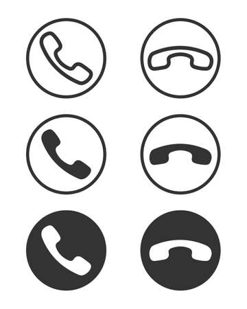 Phone handsets graphic signs set. Call and finish the call icons in the circle isolated on white background. Symbols for website, app or infographics. Vector illustration Banque d'images - 136070861