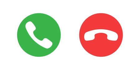 Phone handsets graphic signs. Call and finish the call icons in the circle isolated on white background. Symbols for website, app or infographics. Vector illustration Banque d'images - 136070864
