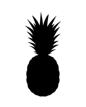 Pineapple graphic icon. Tropical fruit symbol. Pineapple silhouette isolated on white background. Vector Illustration Banque d'images - 136070865
