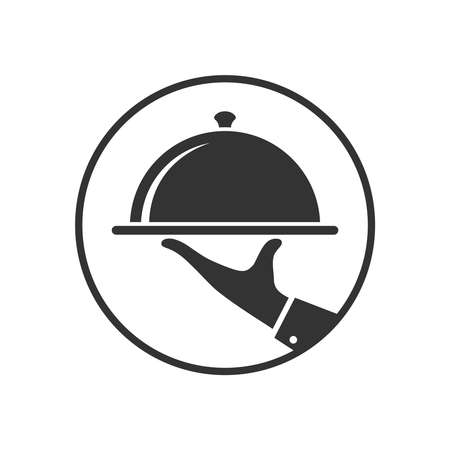 Serving food graphic icon in the circle. Hand of waiter with serving tray sign. Waiter serving symbol isolated on white background. Vector illustration Banque d'images - 135221282