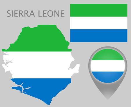 Colorful flag, map pointer and map of Sierra Leone in the colors of the Sierra Leone flag. High detail. Vector illustration Banque d'images - 136071000