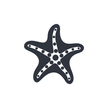Starfish graphic icon. Sea star black sign isolated on white background. Sea life symbol. Vector illustration Banque d'images - 136071001