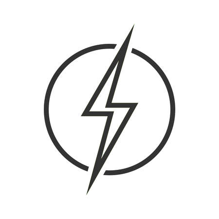 Lightning bolt in the circle graphic icon. Energy sign isolated on white background. Electric power symbol. Vector illustration Banque d'images - 136071005