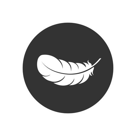 Feather graphic icon. Feather of bird sign in the circle isolated on white background. Vector illustration Banque d'images - 136071006