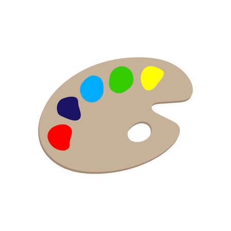 Palette graphic icon. Palette with paints sign isolated on white background. Painting symbol. Vector illustration  イラスト・ベクター素材