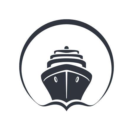Sea ship graphic icon. Cruise liner in the circle sign isolated on white background.  Sea cruise symbol. Vector illustration Banque d'images - 136071011