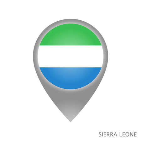 Map pointer with flag of Sierra Leone. Colorful pointer icon for map. Vector Illustration. Banque d'images - 135585413