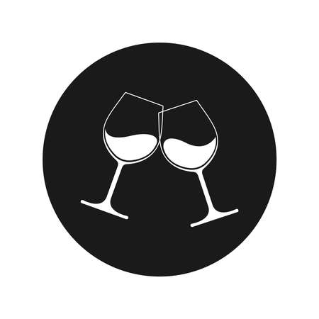 Clink glasses graphic icon. Cheers with two wineglasses with wine sign in the circle isolated on white background. Vector illustration Banque d'images - 137857984
