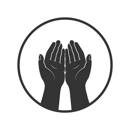 Gesture of the hands folded in prayer graphic icon. Hands cupped together sign in the circle isolated symbol on white background. Vector illustration Banque d'images - 135998794