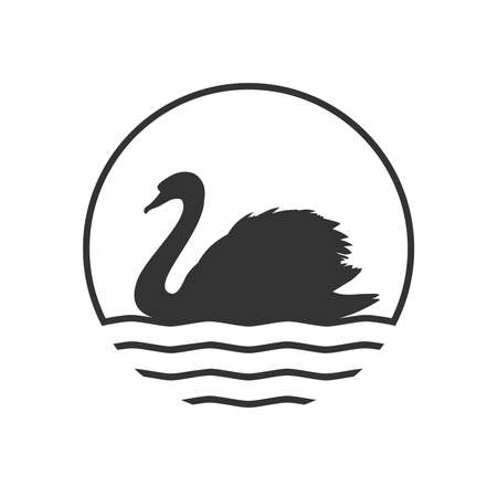 Swan graphic icon. Swan on the water sign in the circle isolated on white background. Vector illustration Banque d'images - 137857989