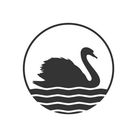 Swan graphic icon. Swan on the water sign in the circle isolated on white background. Vector illustration