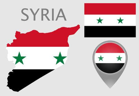 Drapeau coloré, pointeur de carte et carte de la Syrie aux couleurs du drapeau syrien. Haut détail. Illustration vectorielle