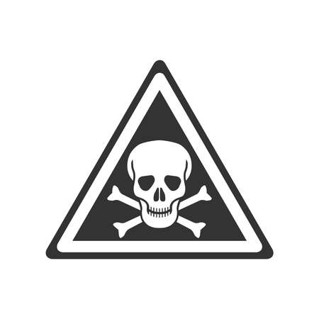 Danger graphic icon. Skull and bones symbol. Danger triangular sign isolated on white background. Vector illustration Banque d'images - 137858002