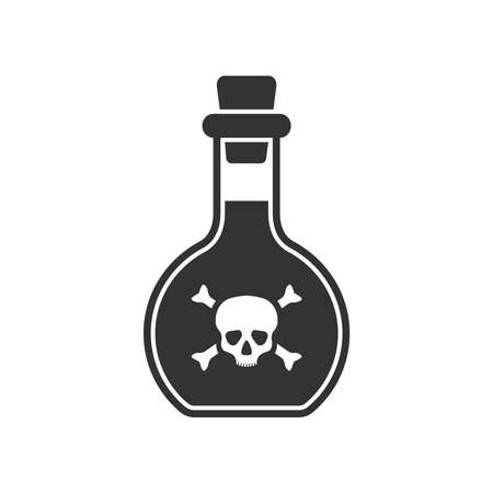 Bottle of poison graphic icon. Glass flask with venom sign isolated on white background. Vector illustration Banque d'images - 137857993