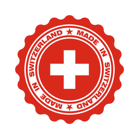 Stamp with text made in Switzerland. Swiss quality. Swiss flag in center circle. Icon premium quality. Label made in Switzerland. Vector illustration Banque d'images - 137857994