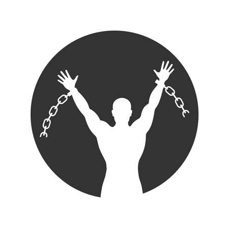 Freed man who broke the chain. Graphic sign. Silhouette liberated man which broken chain. Freedom symbol. Vector illustration Ilustração