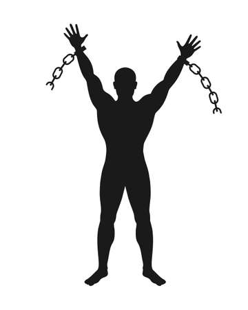 Free man sign. Broken chain graphic icon. Silhouette liberated man which broken chain. Freedom symbol. Vector illustration