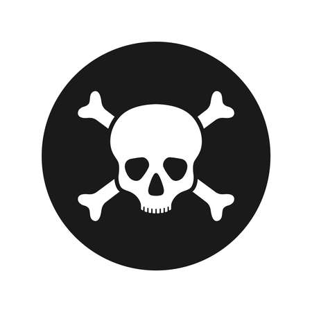 Human skull and bones graphic icon. Skull and bones sign in the circle isolated on white background. Mortal danger symbol. Vector illustration Banque d'images - 137857998