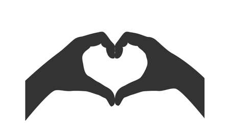 Gesture of the hands folded as heart. Hands folded in the shape of a heart, sign isolated on white background. Symbol love. Vector illustration