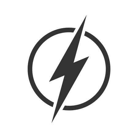 Fulmine nell'icona grafica del cerchio. Segno di energia isolato su sfondo bianco. Simbolo di energia elettrica. Illustrazione vettoriale Vettoriali