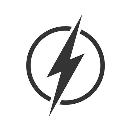 Lightning bolt in the circle graphic icon. Energy sign isolated on white background. Electric power symbol. Vector illustration Ilustração Vetorial