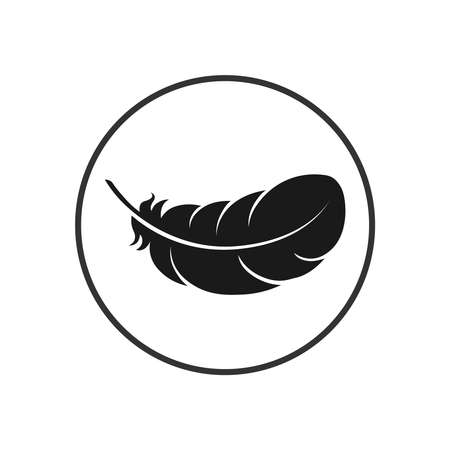 Feather graphic icon. Feather of bird sign in the circle isolated on white background. Vector illustration
