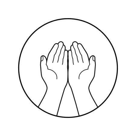 Gesture of the hands folded in prayer graphic icon. Hands cupped together sign in the circle isolated symbol on white background. Vector illustration