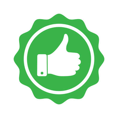 Recommend graphic icon. Recommended symbol with thumbs up. Quality production sign isolated on white background. Vector illustration Çizim