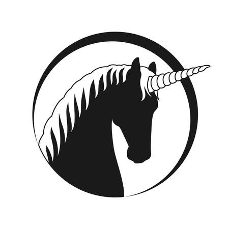 Unicorn head graphic icon. Drawn unicorn sign in the circle Isolated on white background. Vector illustration