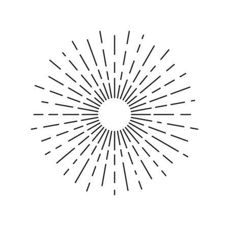 Sun rays drawn symbol on white Vetores