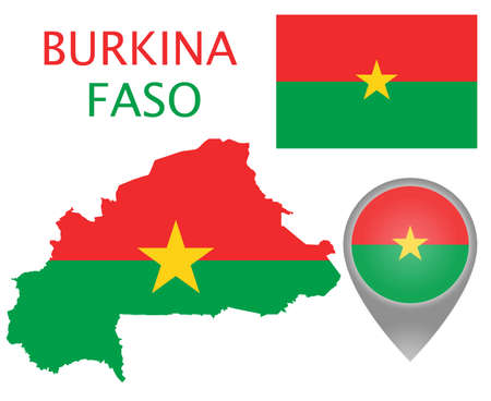 Colorful flag, map pointer and map of Burkina Faso in the colors of the Burkina Faso flag. High detail. Vector illustration