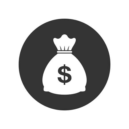 Money bag graphic icon. Money bag sign in the black circle isolated on white background. Vector illustration