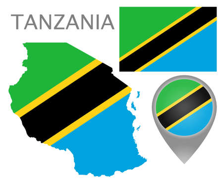 Colorful flag, map pointer and map of Tanzania in the colors of the tanzanian flag. High detail. Vector illustration