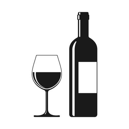 Wine bottle and glass graphic icon. Wine sign isolated on white background. Vector illustration