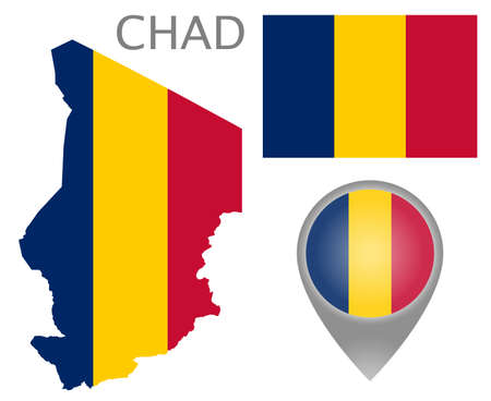 Colorful flag, map pointer and map of Chad in the colors of the flag of Chad. High detail. Vector illustration