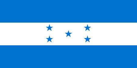 Honduras flag with official colors and the aspect ratio of 1:2. Flat vector illustration.