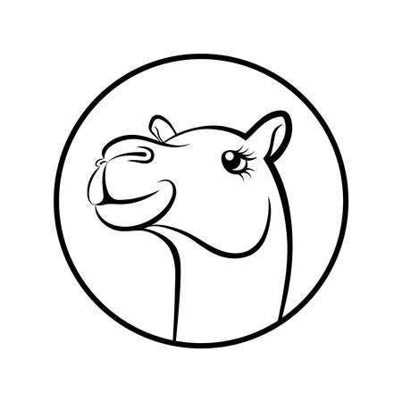 Camel face graphics symbol. Camel sign in the circle isolated on white background. Vector Illustration Vectores