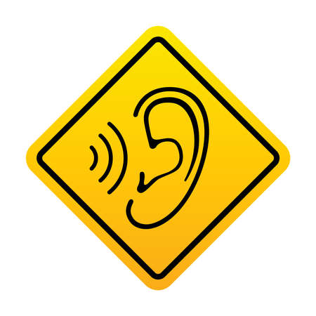 Ear and sound wave warning banner. Noise hazard symbol. Yellow sign ear and sound signal isolated sign on white background. Vector illustration