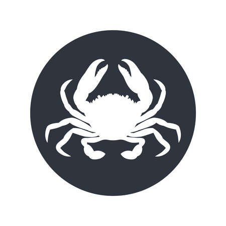 Crab graphic icon. Sea crab sign in the circle isolated on white background. Vector illustration