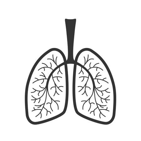 Lungs human graphic icon. Human lungs sign isolated on white background. Vector illustration Vettoriali