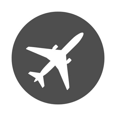 Airplane graphic icon. Aircraft sign in the circle isolated on white background. Airplane flat symbol. Vector illustration Vetores