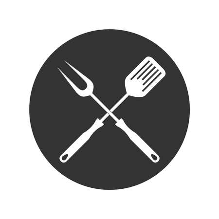 BBQ or grill tools graphic icon. Crossed barbecue fork with spatula sign in the circle Isolated on white background. Silhouettes BBQ tools. Vector illustration