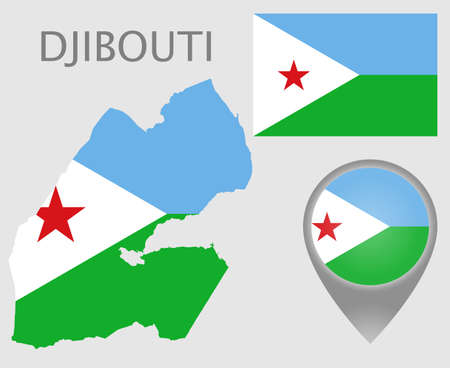 Colorful flag, map pointer and map of Djibouti in the colors of the djiboutian flag. High detail. Vector illustration 向量圖像
