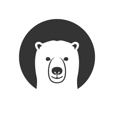 Polar bear graphic icon. Arctic bear head sign in the circle isolated on white background. White bear symbol. Vector illustration  イラスト・ベクター素材