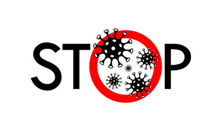 Stop coronavirus sign. Warning banner stop covid-19. Banner ban coronavirus isolated on white background. Vector illustration