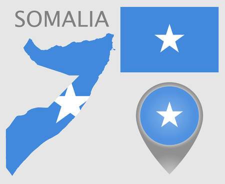 Colorful flag, map pointer and map of Somalia in the colors of the Somalian flag. High detail. Vector illustration 向量圖像